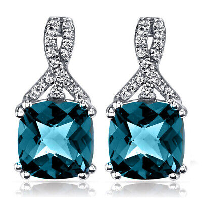 2 Ct London Blue Topaz Trillion 6mm Stud Earrings 18K White Gold Plated (Blue Topaz Trillion Stud)