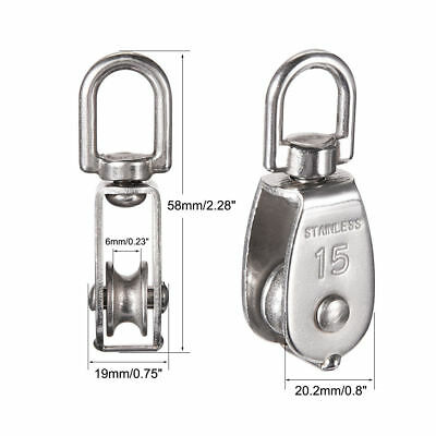 M15 Lifting Crane Swivel Hook Single Pulley Wire Rope Stainless Steel Usa