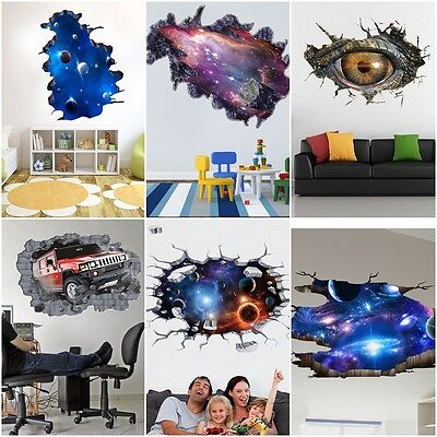 Cool Space Galaxy Stars Planets Universe 3D Mural Photo Wall Stickers Home Decor (3d Planets)