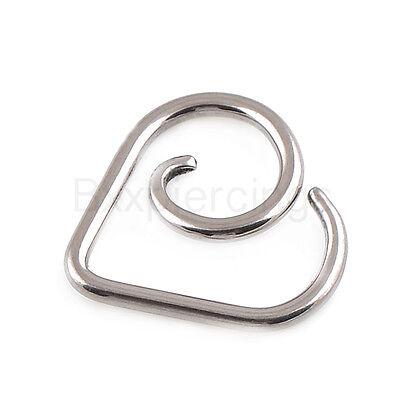 Jewelry Titanium Ring (2pc 16G TITANIUM Heart Seamless Ring Cartilage Daith Tragus piercing)