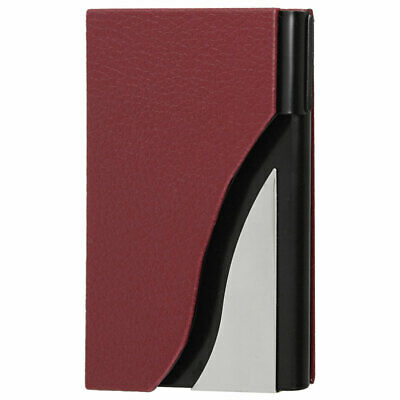 Red Faux Leather Coated Plastic Business Card Holder Case