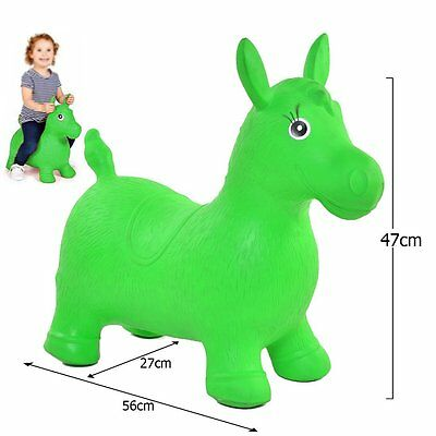 GREEN KIDS ANIMAL SPACE HOPPER, HAPPY INFLATABLE HORSE FUN BOUNCY PLAY TOYS