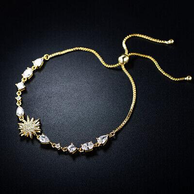 Sevil 18K Gold Plated Swarovski Elements Adjustable Bolo Bracelet