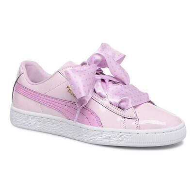 PUMA Basket Heart Stars Patent Bow Childrens Trainers Kids Pink Girls Shoes