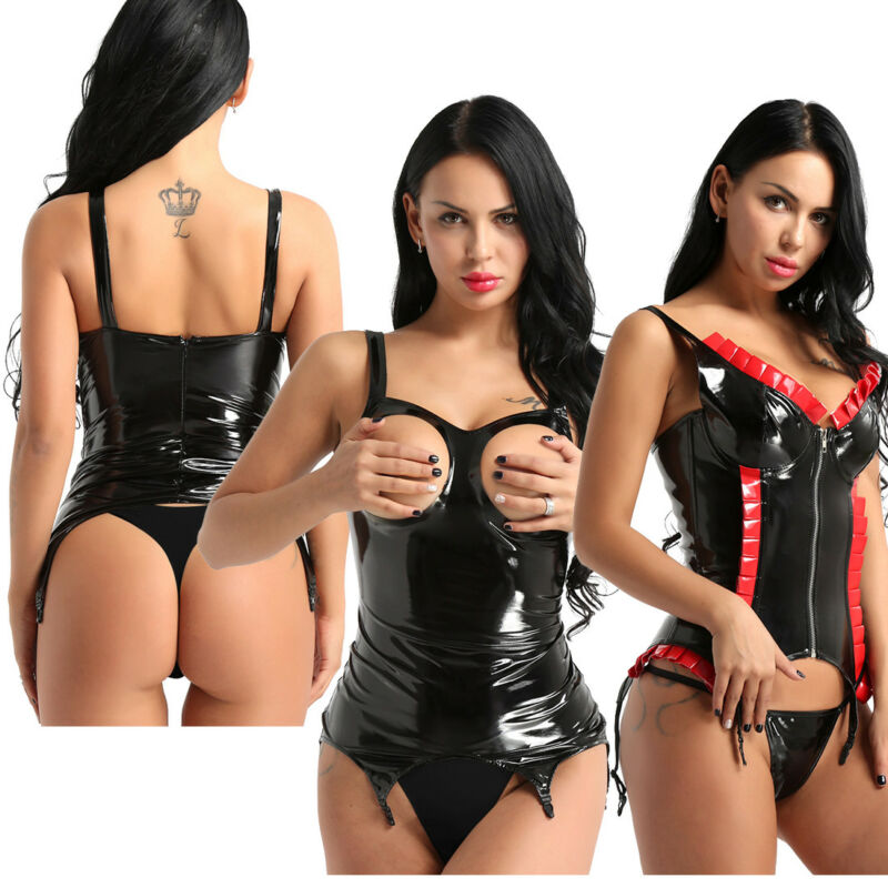 caffbc482c Women Sexy PVC Wetlook Leather Clubwear Bodysuit Costume Jumpsuit Catsuit  HotsUSD 12.29