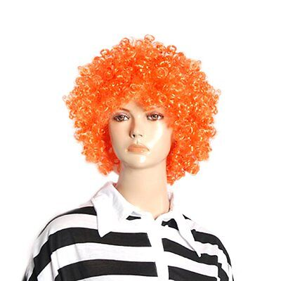 Halloween Men Women Orange Curly Afro Circus Clown Wig Z4D8