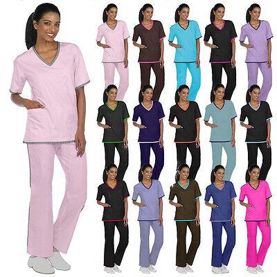 Medical Nursing Scrubs NATURAL UNIFORMS Contrast Trim Sets X