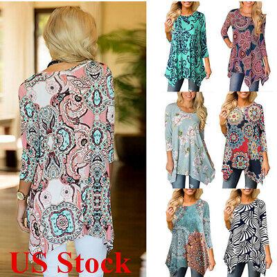 Sleeve Printed Tunic - Women Casual Irregular Floral Printed Long Sleeve Blouse Loose Tunic Top T-Shirt