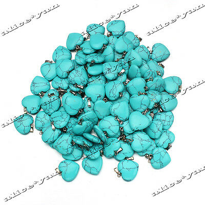 Wholesale 5pcs Heart Natural Turquoise Gemstone Silver Tone Alloy Pendant Beads