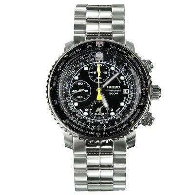 Seiko Flightmaster Men's Black Dial Chronograph Watch SNA411