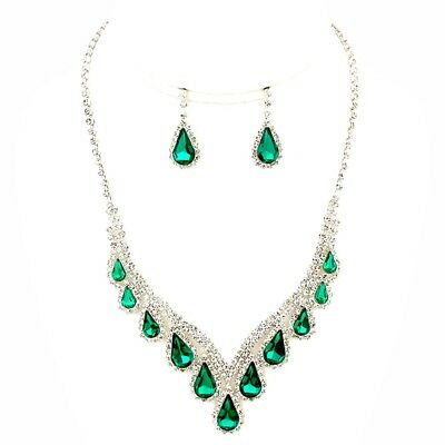 Women Costume Jewelry Emerald Green Clear Rhinestone Silver Necklace Bride Set (Emerald Costume)