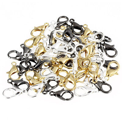 60-Piece Mix Lobster Claw Clasps for Jewelry Making 12mm Silver Gold Black AD - Clasps For Jewelry Making