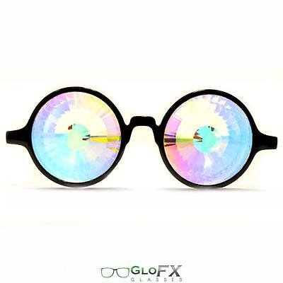 GloFX Black Kaleidoscope Glasses Rainbow Wormhole 3D Trippy Raver Club EDM DJ
