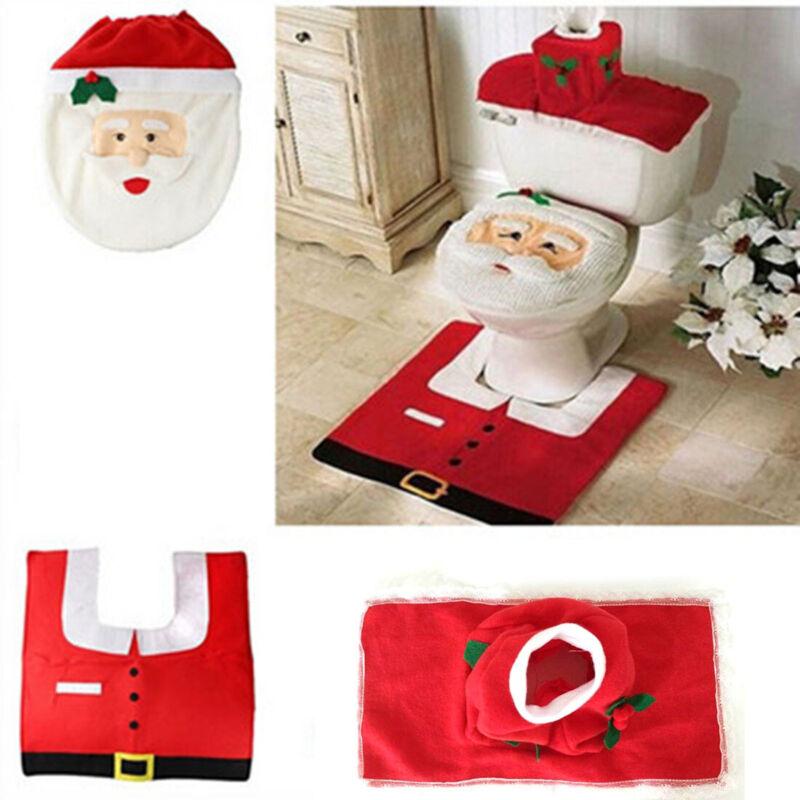 Christmas Toilet Seat 3pcs Cover Decoration Rug Happy Santa Festive Set Bathroom