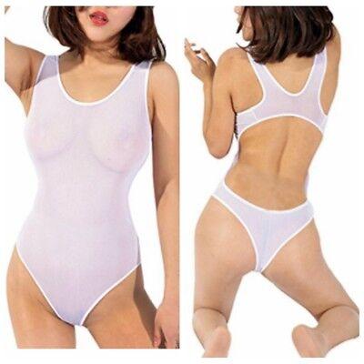 White Thong Bikini (Women's One Piece Sheer Mesh Lingerie Monokini Bodysuit High Cut Leotard)