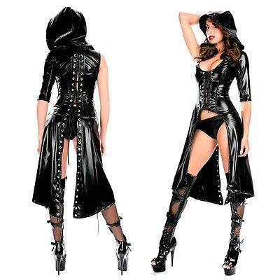 Damen Wetlook Leder Catsuit Gothic Bodysuit Schnürung Clubwear Kostüm Schwarz