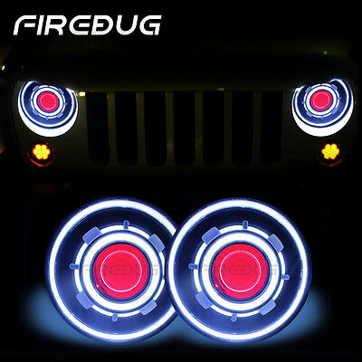 "Firebug 7"" Jeep Headlights Halo Blue Angel Eye and Red Demon Eye, Hummer H1 & H2"