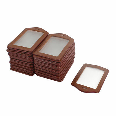 Faux Leather Id Badge Card Office Work Name Card Vertical Holders Brown 50 Pcs