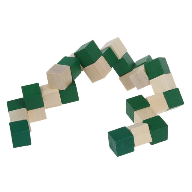 Cube Snake Puzzle Magic 3D Wooden Toy Game Kids Baby Children Twist Gift T8