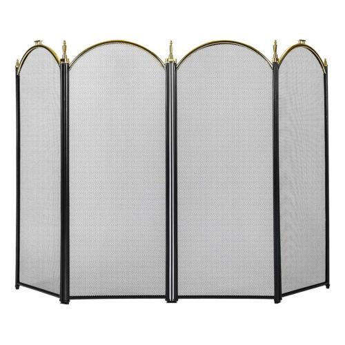 VIVOHOME Folding Fireplace Screen 4 Panel Guard Fireplace Ir
