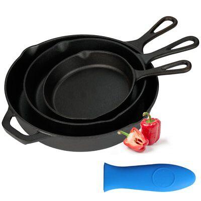 "Kookantage Cast Iron Skillet Pre-Seasoned Cookware-6"", 8"", 10"" Pans 3 Piece Set"