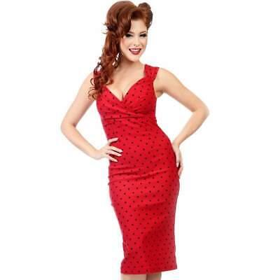 Steady Clothing Diva Polka Dot Wiggle Dress Rockabilly Pin Up Pencil Retro 50s