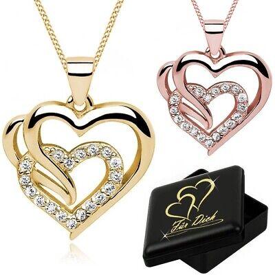 Damen Halskette Zirkonia Herz Anhänger 925er Sterling Silber + Gravur Schmuckbox (Silber Halskette Herz)