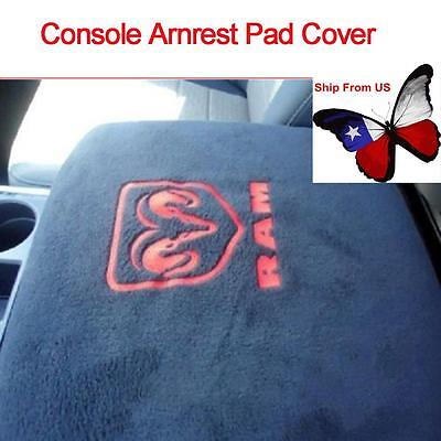 - Black Center Armrest Console Cover Embroidered For Dodge Ram 1500-5500 Truck