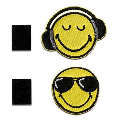 Smiley © - Smiley Sonnenbrille und Kopfhörer Klett - Aufnäher / Bügelbild /Aufb