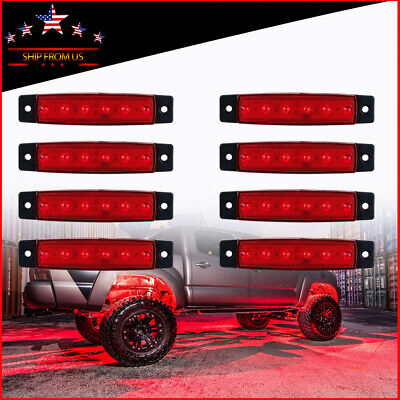 "8 X 3.8""Red LED Rock Lights For JEEP Off Road Truck UTV Under  Wheel Light"