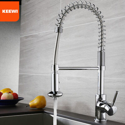 Keewi Kitchen Coil Faucet Chrome, Brass Body Ceramic Disc Cartridge Durability Ceramic Disc Kitchen Faucet
