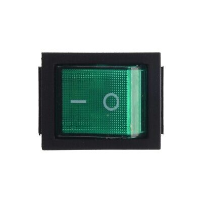 Dpst Green Led Lit Square Rocker Switch 4-pin Onoff Snap-in 15a240v 20a120vac
