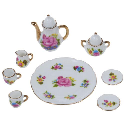 8pcs 1/6 Dollhouse Miniature Dining Ware Porcelain Dish/Cup/Plate Tea Set DT