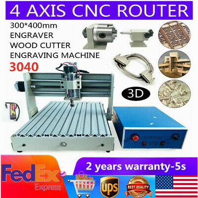 Us 4 Axis Cnc 3040 Engraver Router Wood Carving Milling Engraving Machine Rc