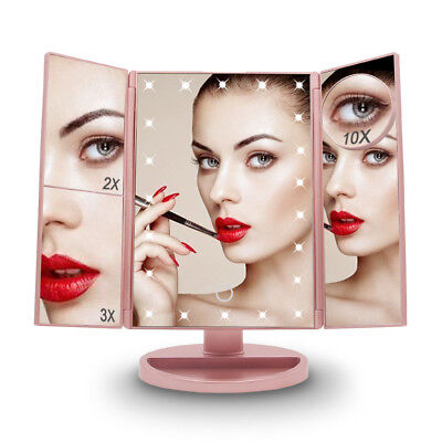 3 Fold 2X 3X 10X Magnification Makeup Mirror with Lights Table Standing Mirror for sale  USA