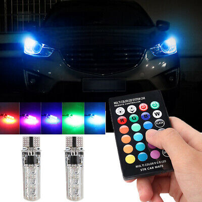 T10 LED Remote Control W5W 501 RGB Color Changing Car Wedge Side Light Bulbs