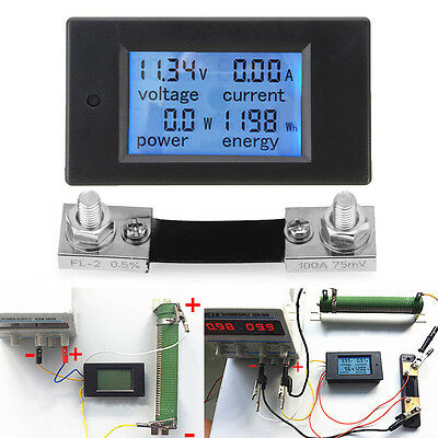 New Dc 6.5100v 0-100a Lcd Display Digital Combo Panel Volt Amp Power Watt Meter