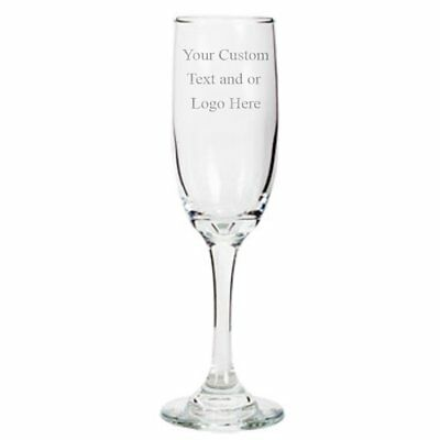 Custom Engraved Flute Champagne Glass Glasses 6.25 oz Stem Gift Wedding Bride  - Engraved Wedding Flutes
