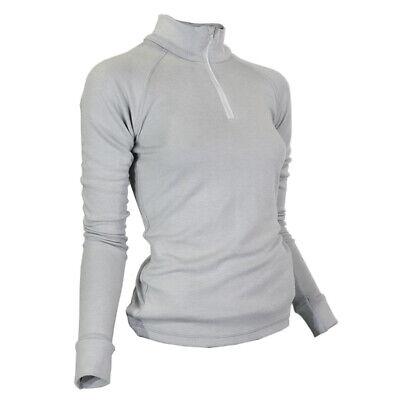Wolle-unterwäsche Langarm (Merinowolle Unterwäsche Damen Langarmshirt Kragen Reißverschluss Grau)