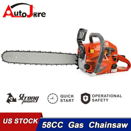 """58CC 20"""" Gas Chainsaw Gasoline 2 Stroke Petrol Logging Handheld Powered Cutting"""