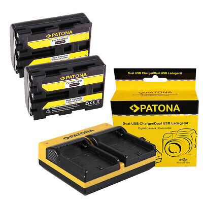 2x Batteria Patona + caricabatteria USB dual per Sony HVR-A1,HVR-A1E,HVR-A1J