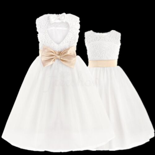 a911b2c38e3 Baby Flower Girl Lace Floral Bridesmaid Heart Cut Out Back Party Pageant  DressUSD 12.95