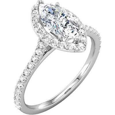2.00 Ct Marquise Cut Diamond Halo Round Accents Engagement Ring I,VS2 GIA 18K WG 3