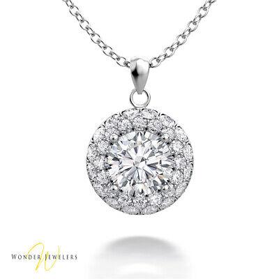 1.1ctw GIA Round Diamond 2 Row Halo Necklace Pendant 14K Gold H/VVS1(2306500298)