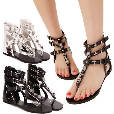 Women Flip Flops T-Strap Gladiator Goth Sandals Flats Shoes Beach Skull - Decorated Flip Flops