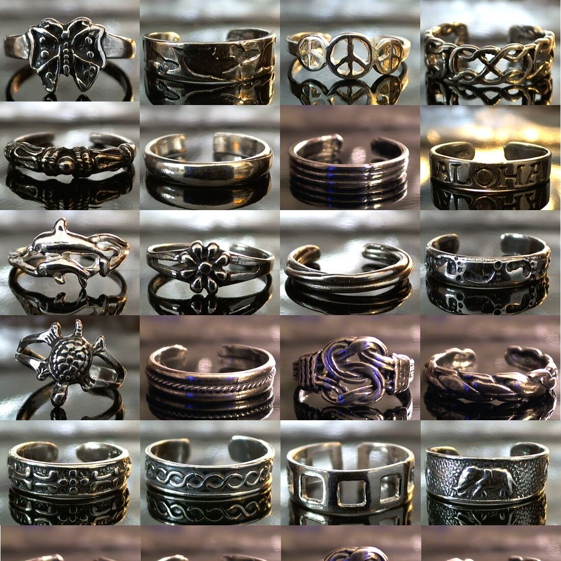 Toe Rings - 160 Unique Designs 100% Solid 925 Sterling Silver - Adjustable Size!