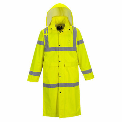 Portwest Uh445 His Vis Safety Raincoat With Long 48 Waterproof Protection Ansi