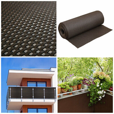 Artificial Rattan Weave Privacy Screening Balcony Fence Garden 1m x 20m Brown