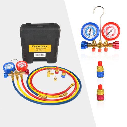FAVORCOOL CT-536G AC Manifold Gauge Set, R410A, R134A, R22 Refrigerants Charge