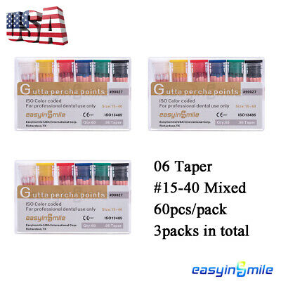 Easyinsmile Dental Endo Gutta Percha Points Color Coded 04 Taper 15-40 Assorted